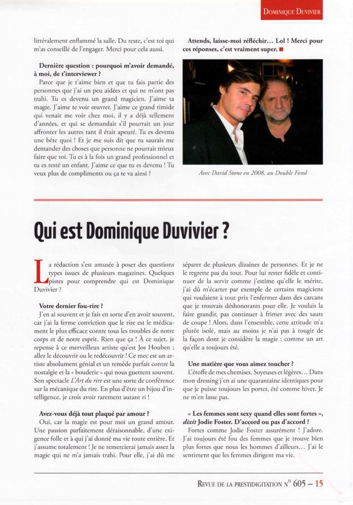 Top Numéro spécial Dominique Duvivier – Questionnaire de Proust  MD61